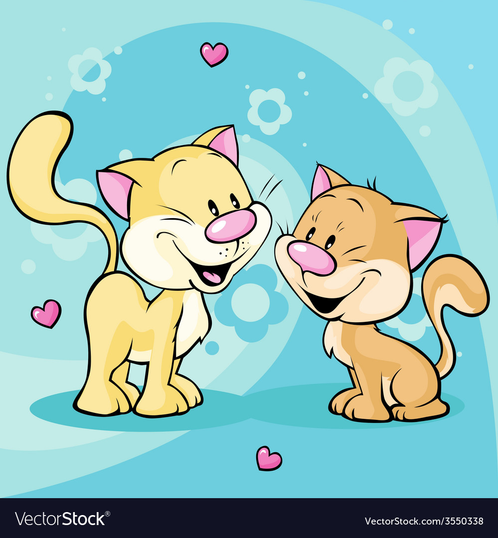 Cute kitty in love on abstract floral background