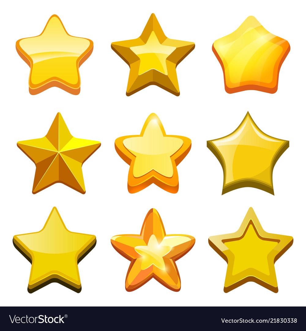 Game cartoon stars crystal golden gui buttons