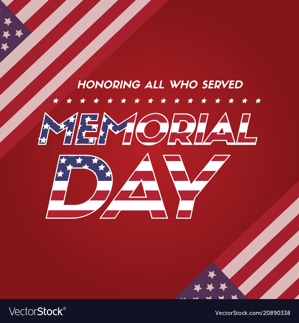 happy memorial day poster flag american royalty free vector
