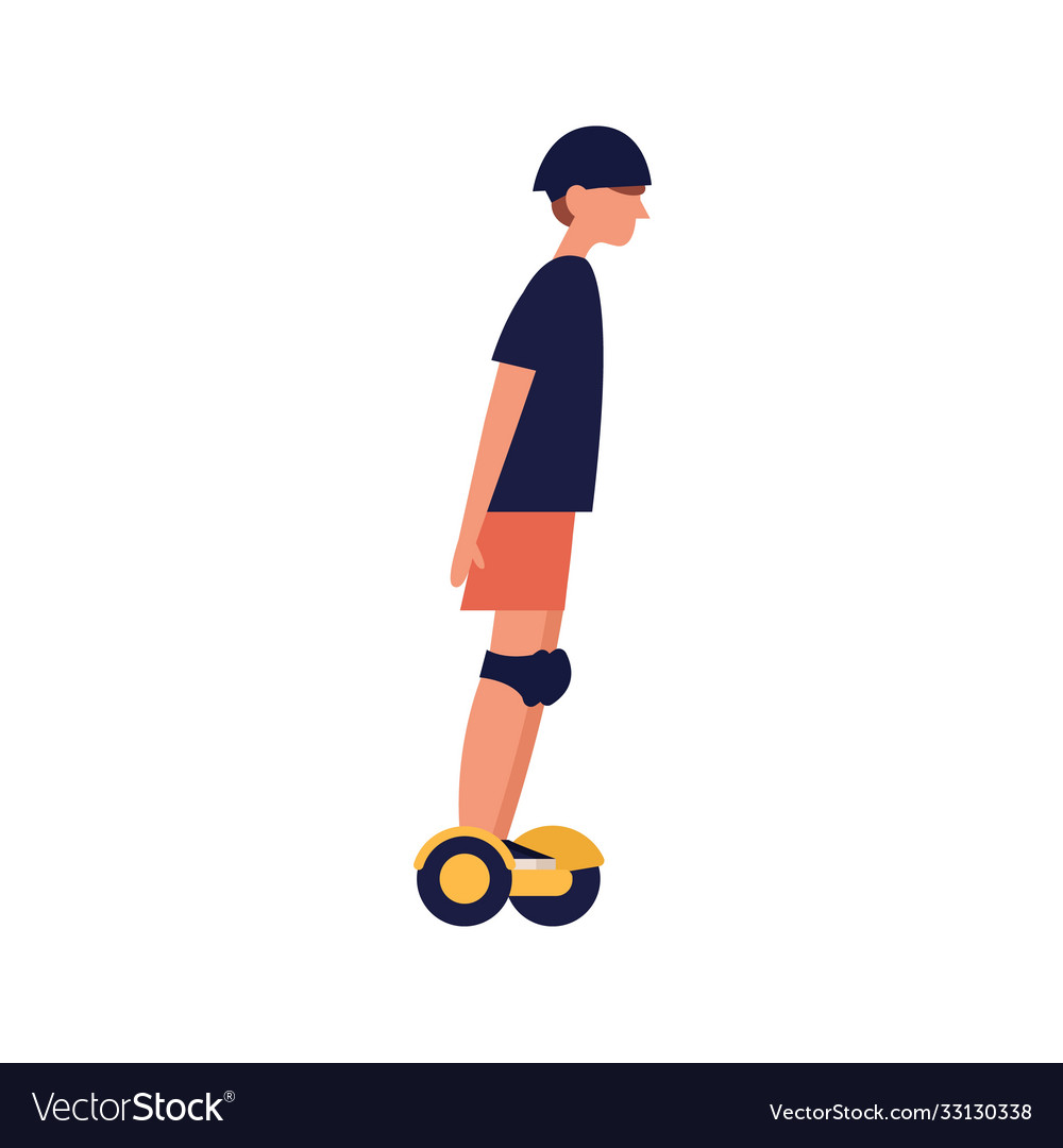Modern teenager boy riding electric gyroscooter