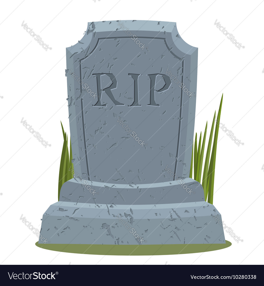 old gravestone with cracks tomb isolated grave on vector image