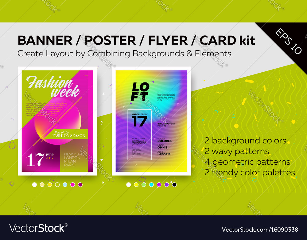 Pack of bright poster templates vector image