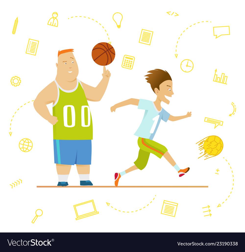 School children sport for kids including football