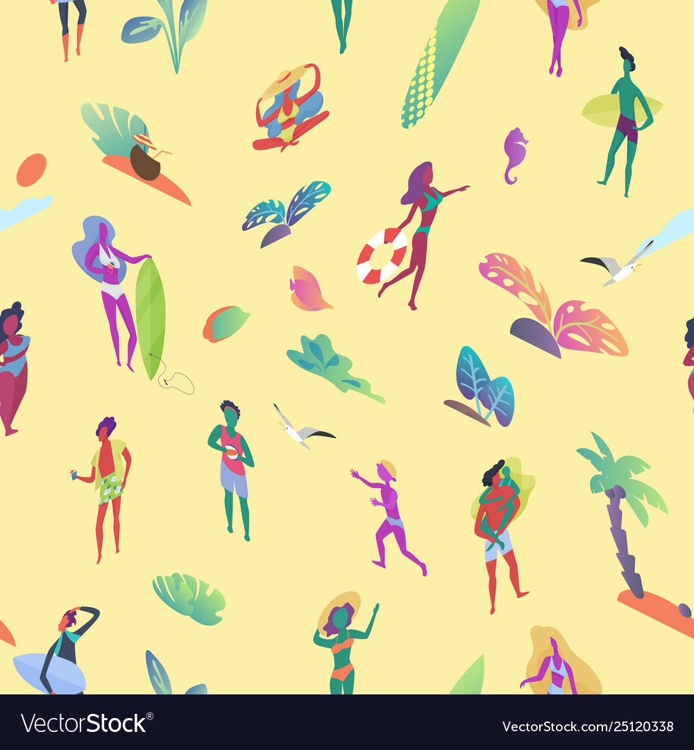 Seamless pattern isometric tiny people at the