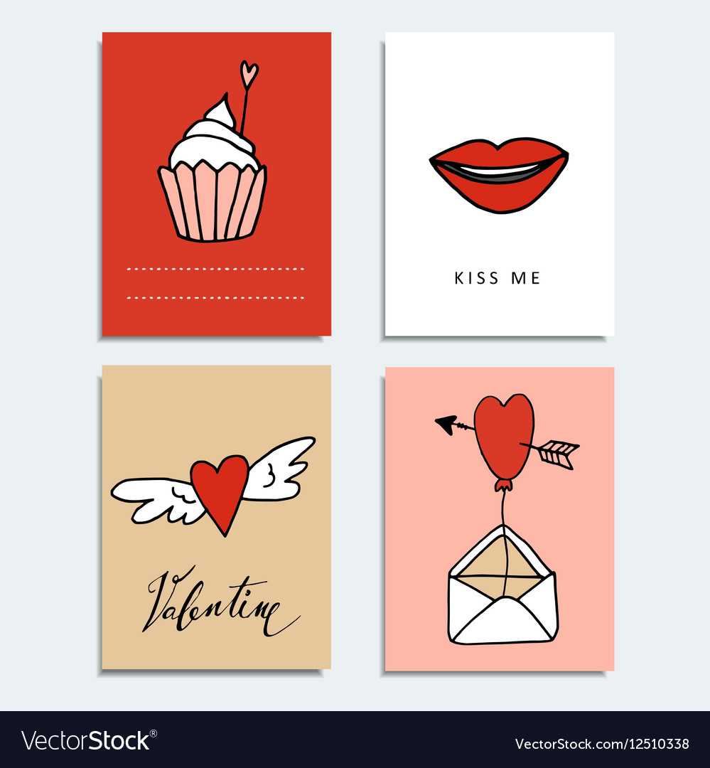 Set of cute hand drawn Valentines day cards Love