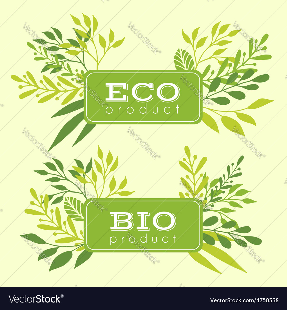 Set of eco and bio floral stickers banners