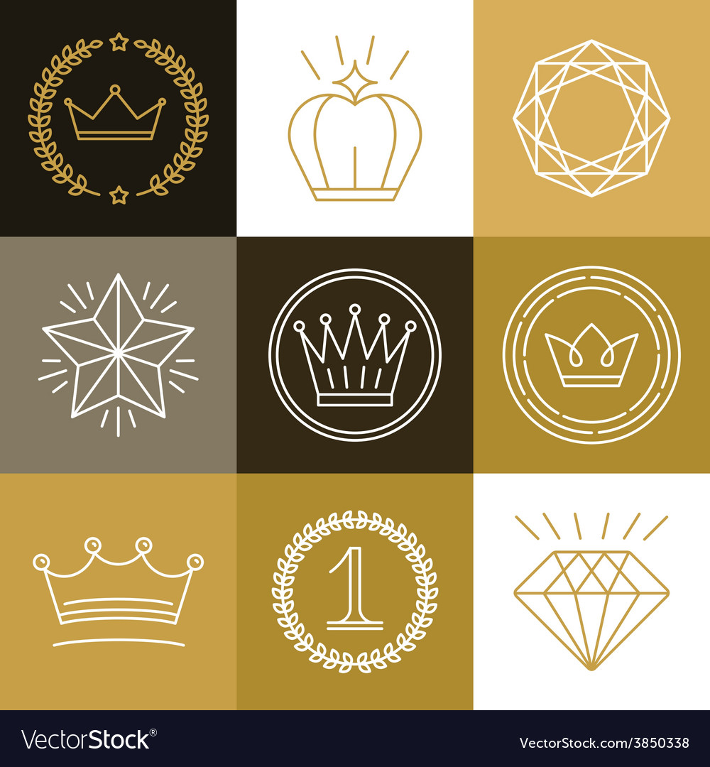 Set of linear gamification badges vector image