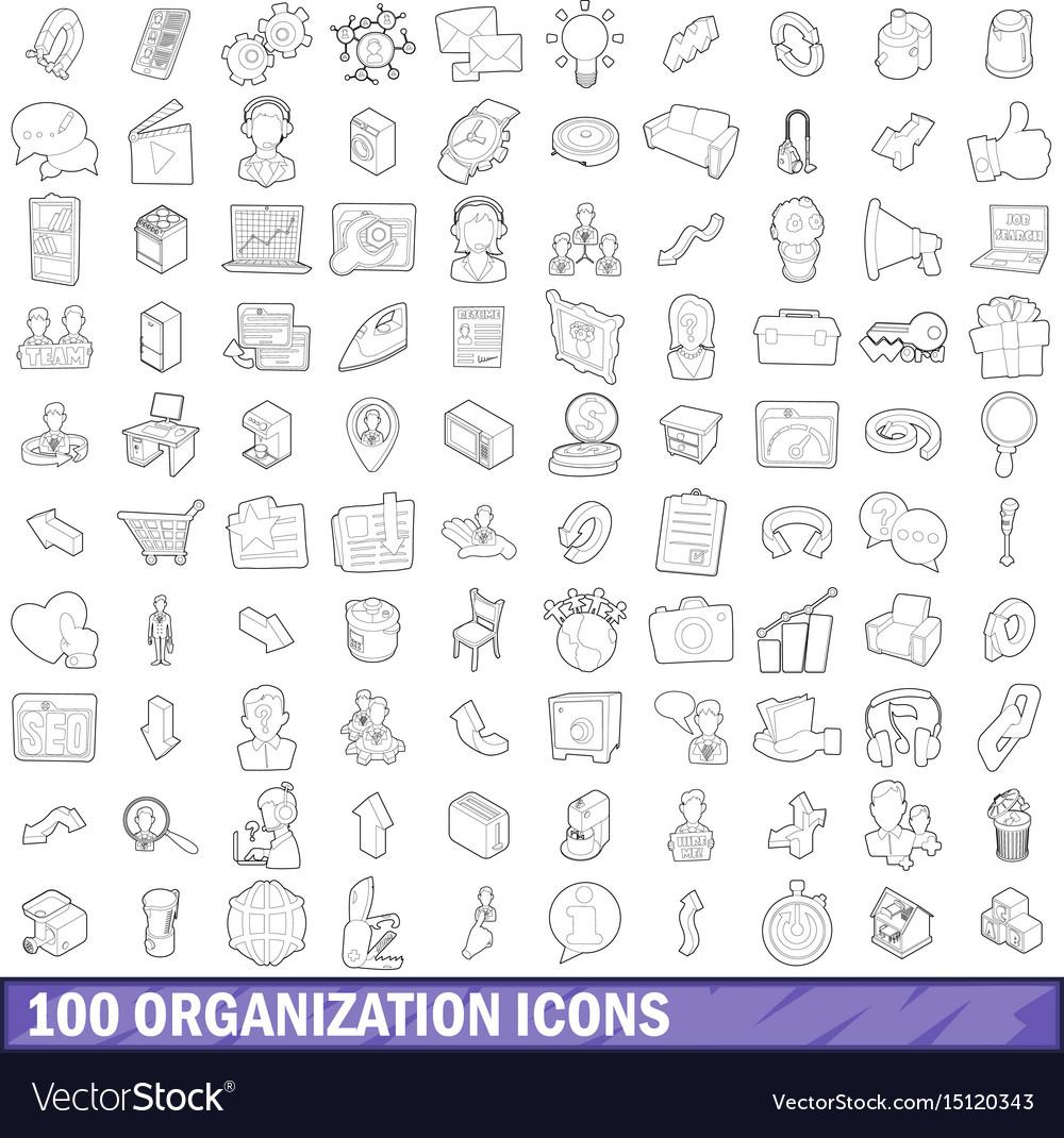 100 organization icons set outline style