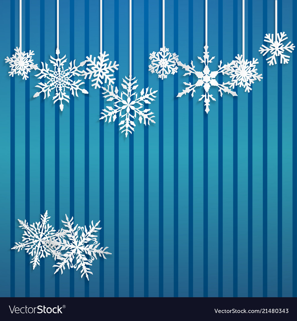 Background with hanging snowflakes
