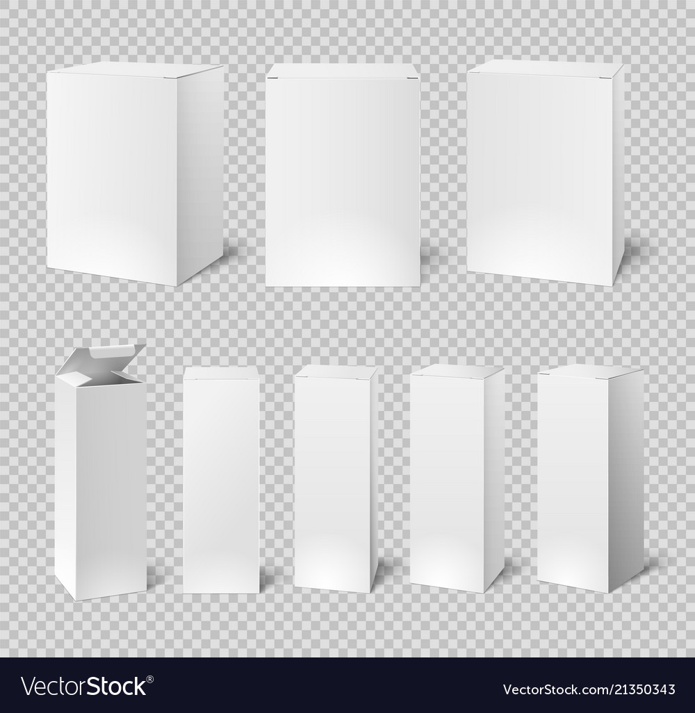 Blank white boxes rectangular medicine and