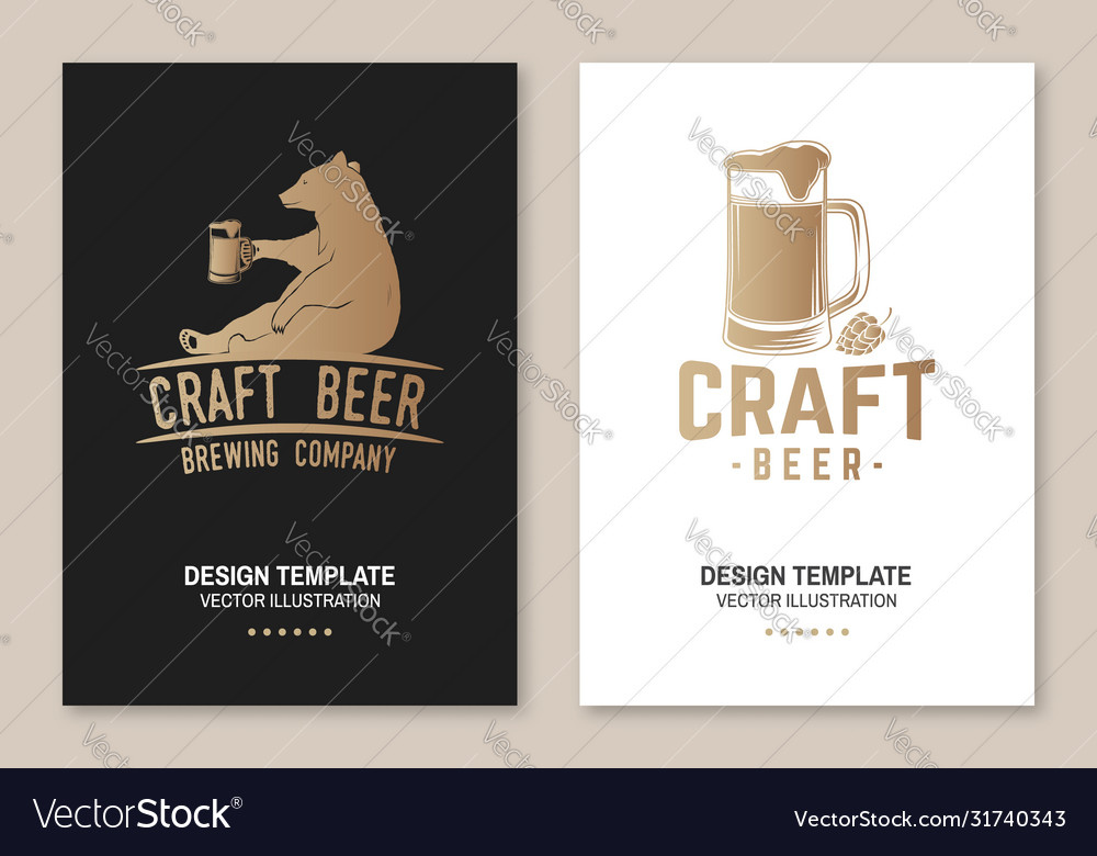 Craft beer poster flyer template card with bear