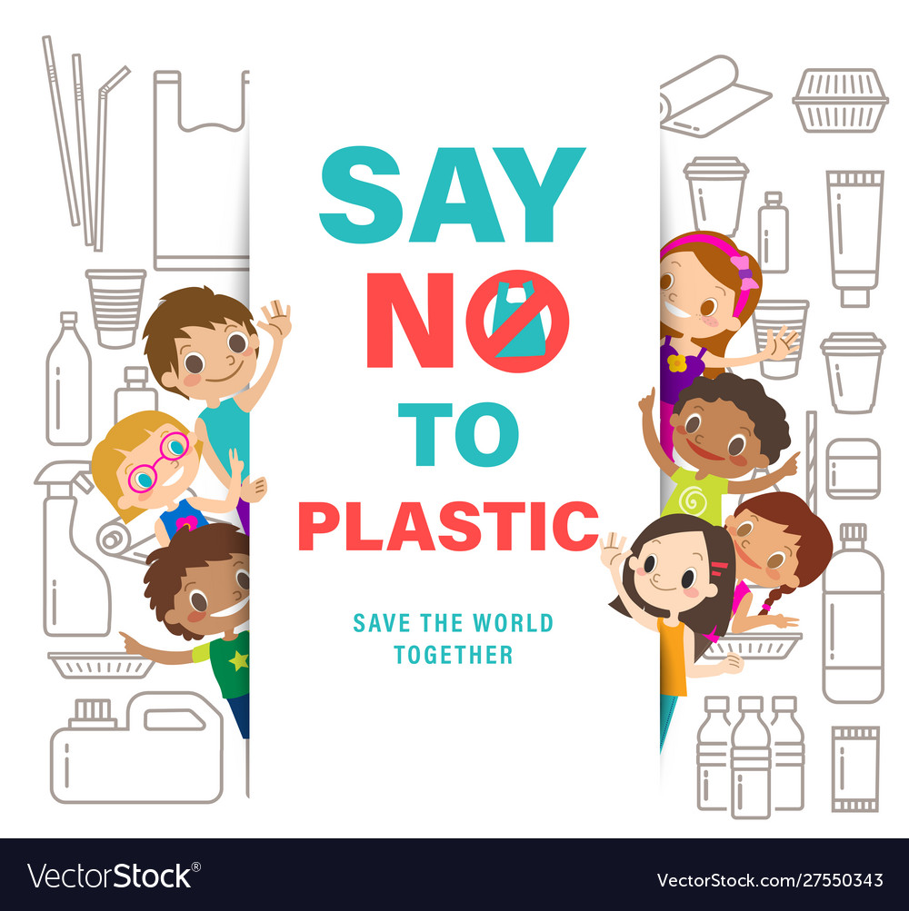 Diverse group of kids with say no to plastic sign