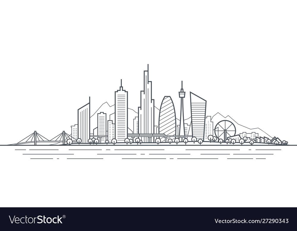 Futuristic cityscape thin line art