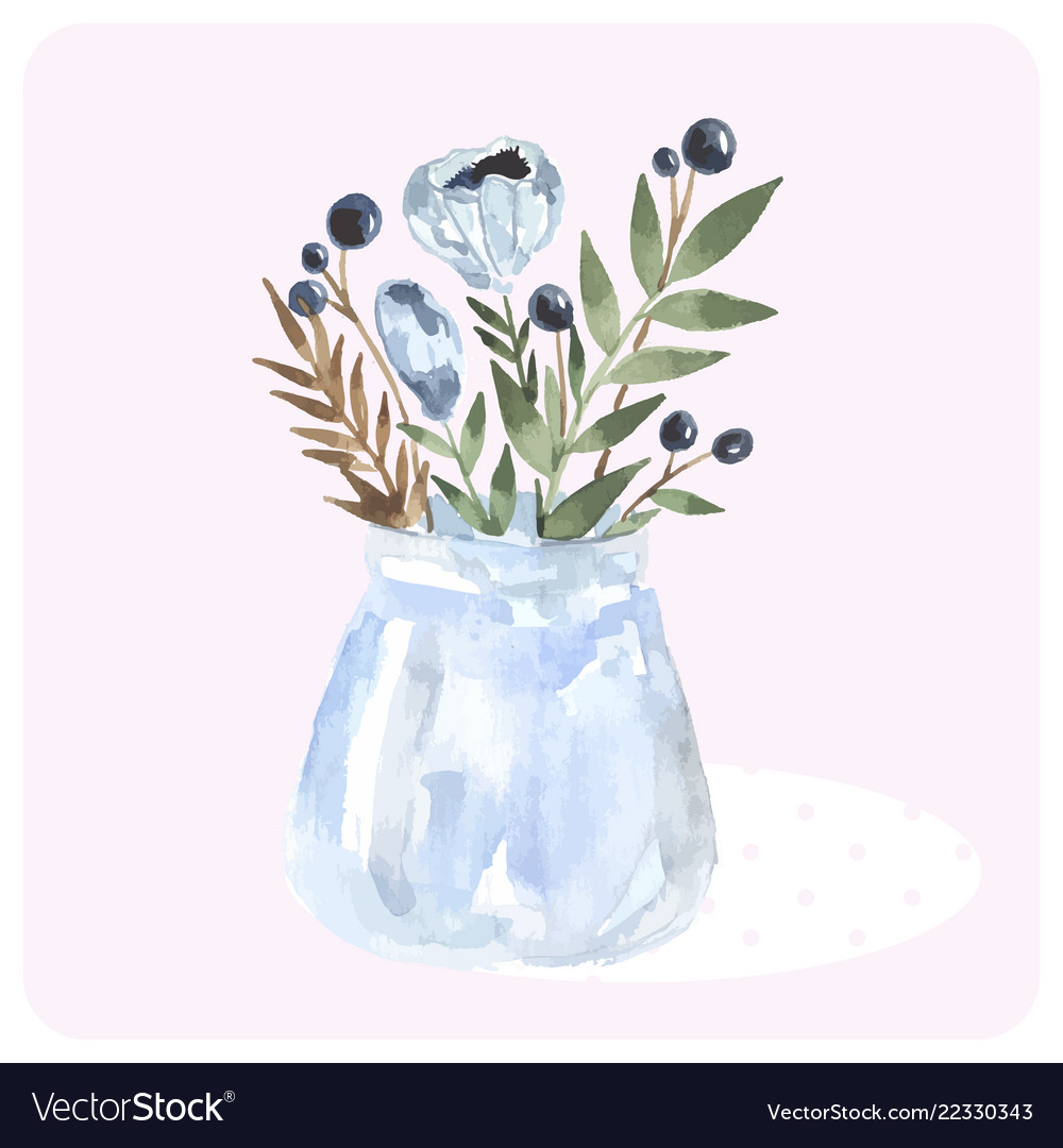 Hand drawn watercolor bouquet in bank blue