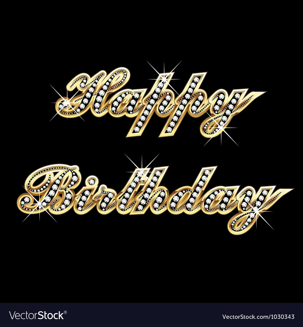 Happy birthday in gold with diamonds