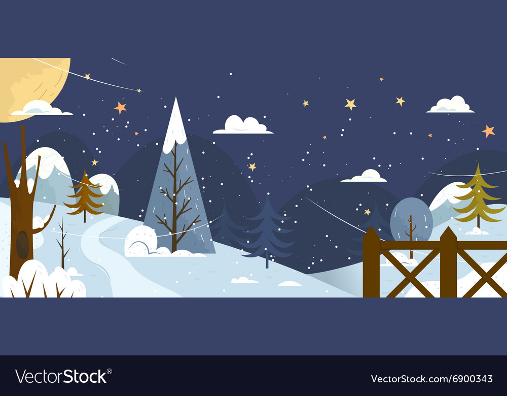 Landscape banner or background with winter nature