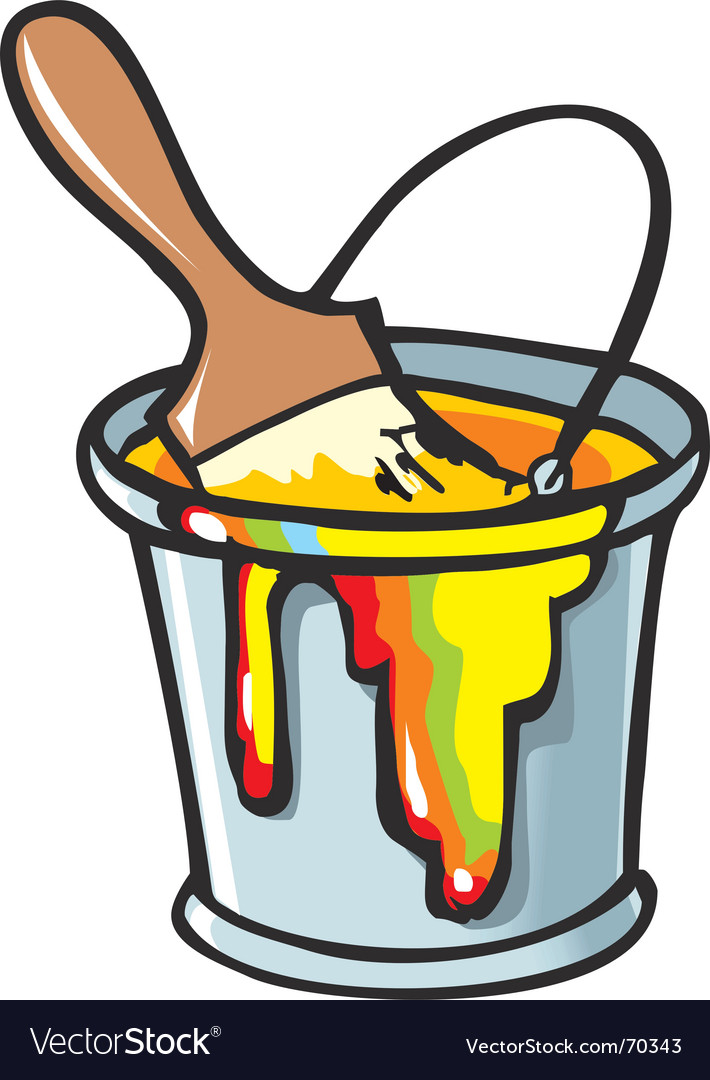 Paintbrush in a paint can vector image