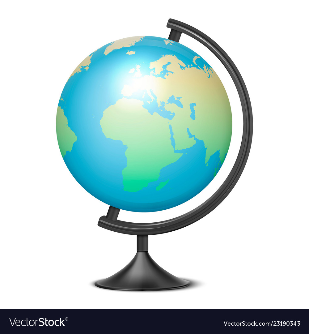 Realistic 3d globe of planet earth with map