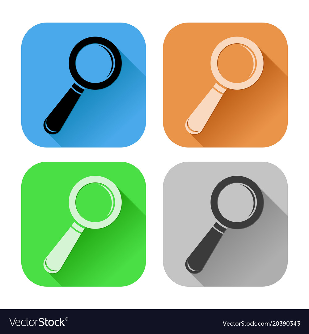 Search or find icons white silhouette on colored