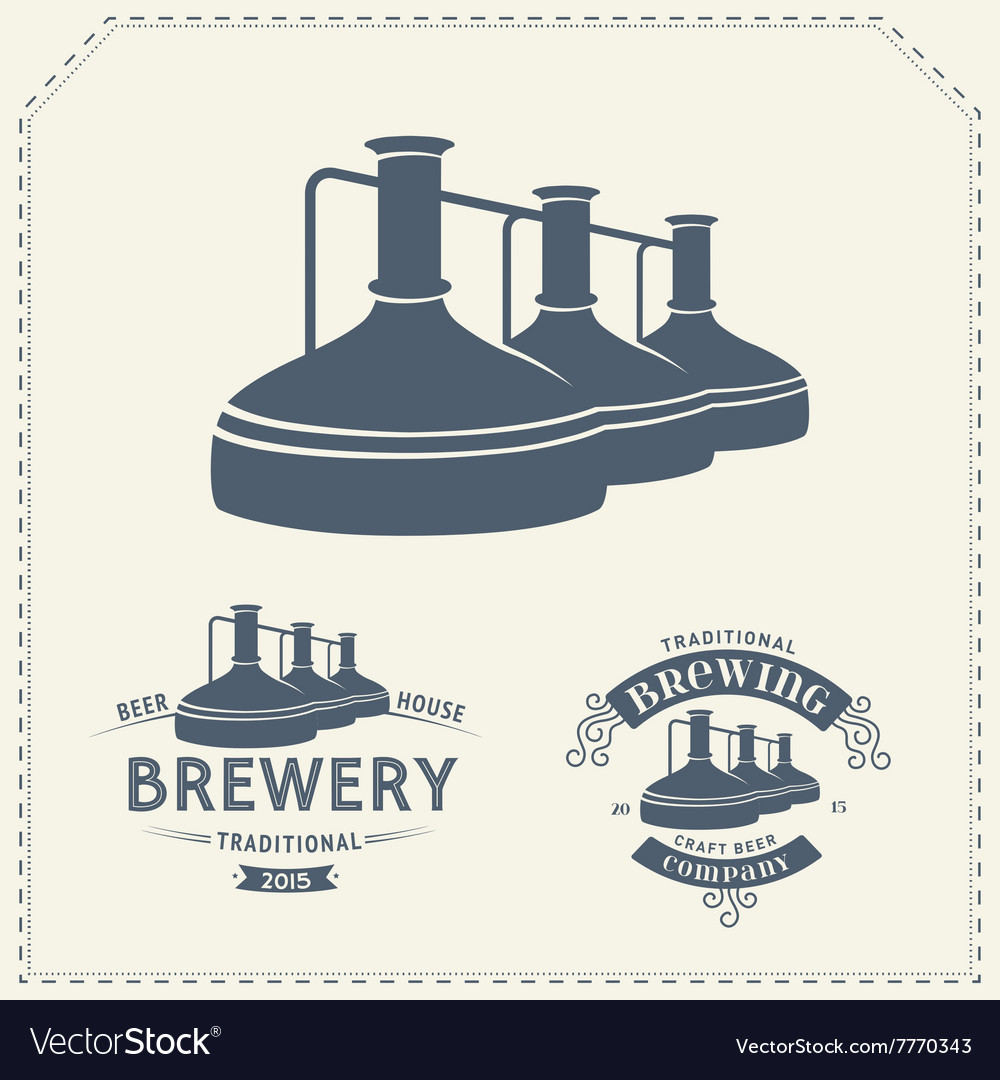 Set - beer brewery elements icons logos