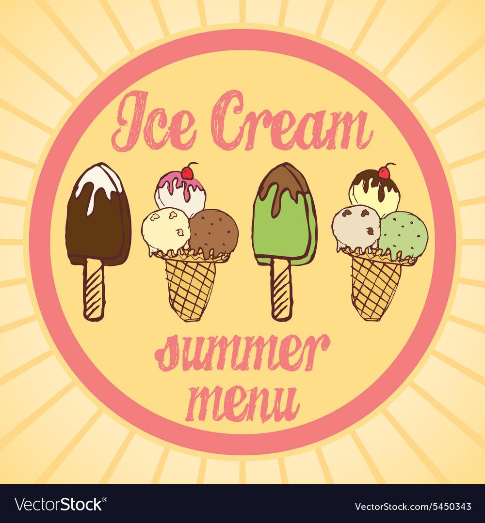 Vintage Ice Cream Poster Set of tasty ice cream vector image