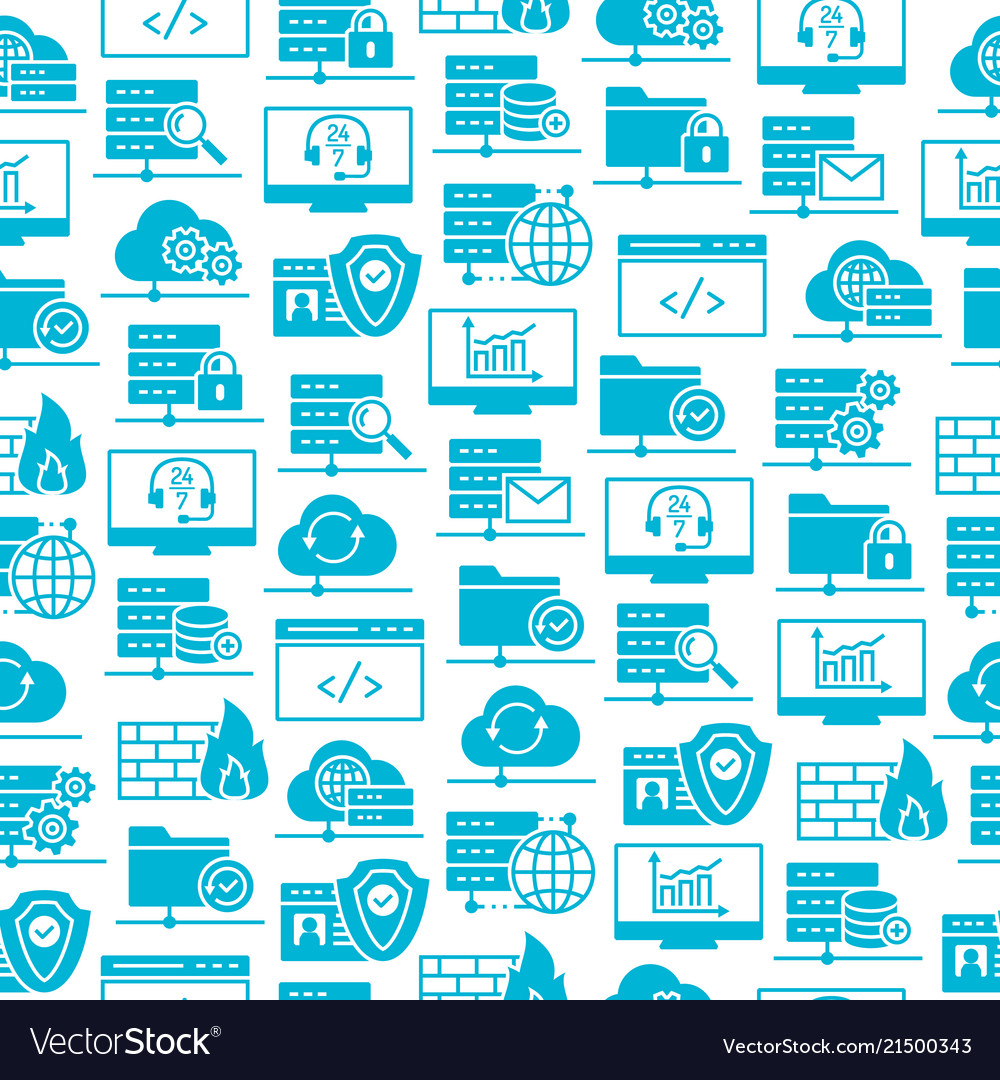 Web hosting icons seamless pattern