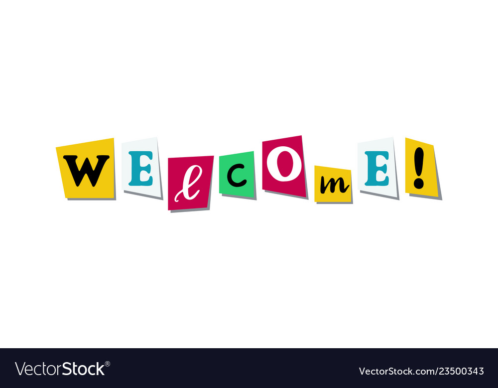 Welcome greeting phrase in papercut colorful