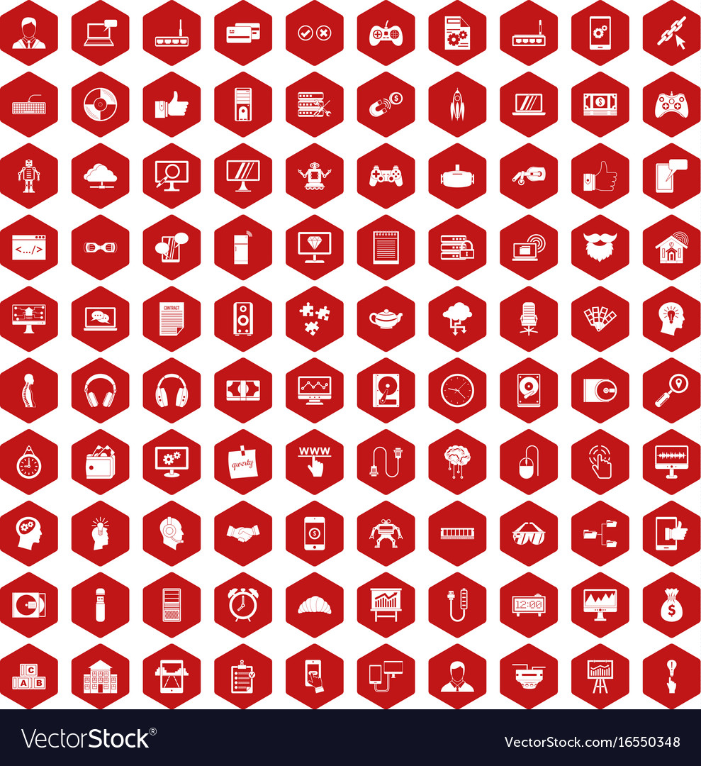 100 programmer icons hexagon red vector image