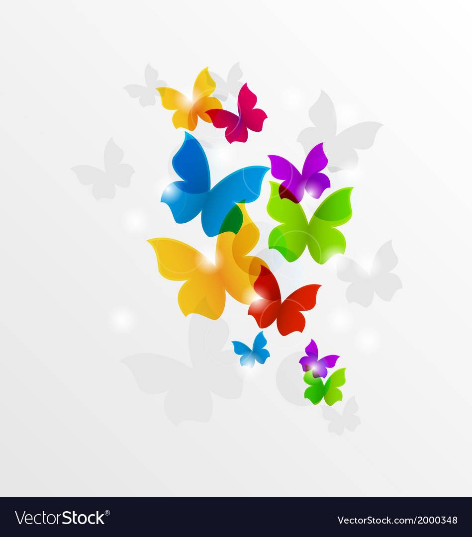 Abstract rainbow butterflies colorful background