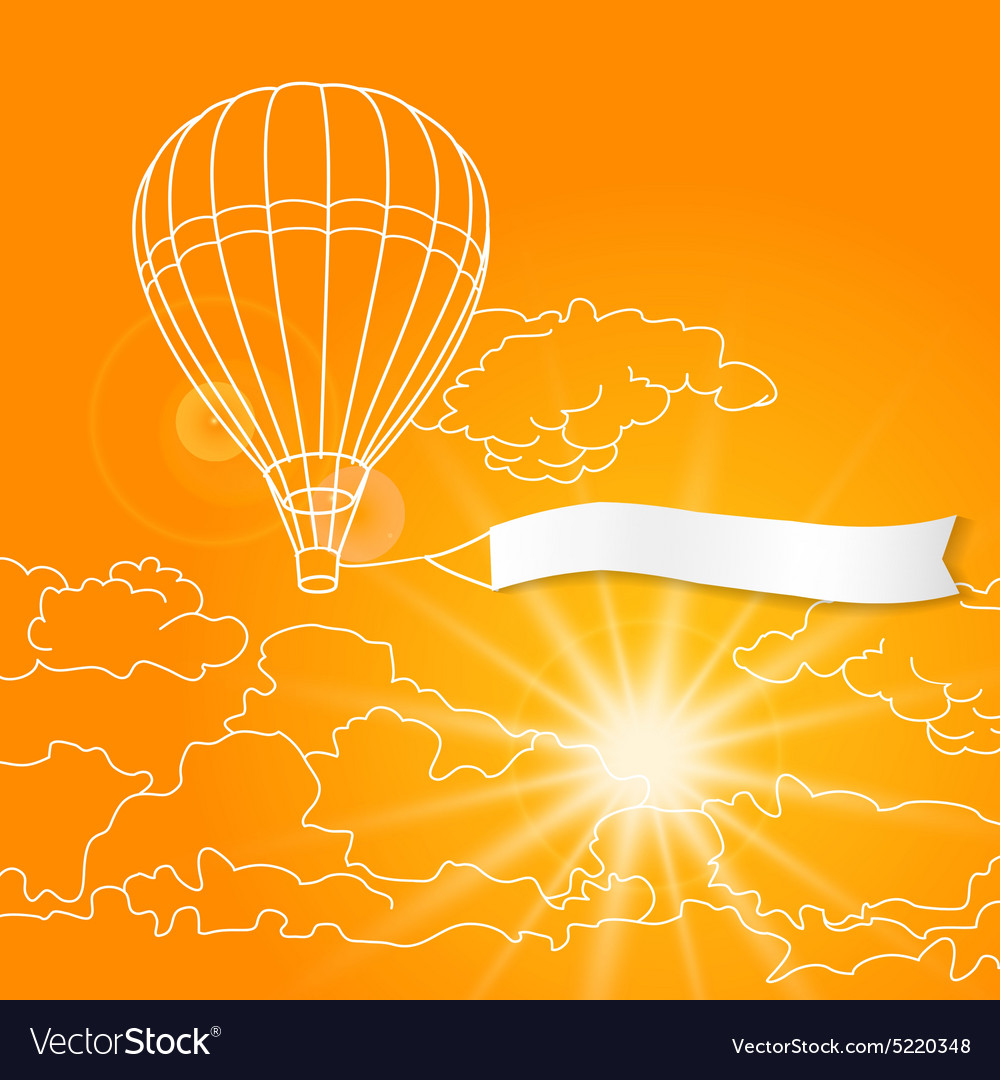Air balloon with blank banner flying in the sunny