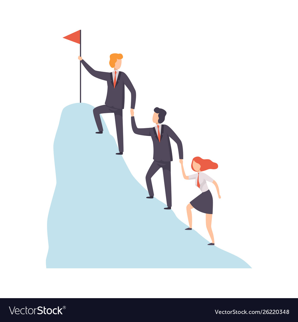 Business people climbing to top mountain