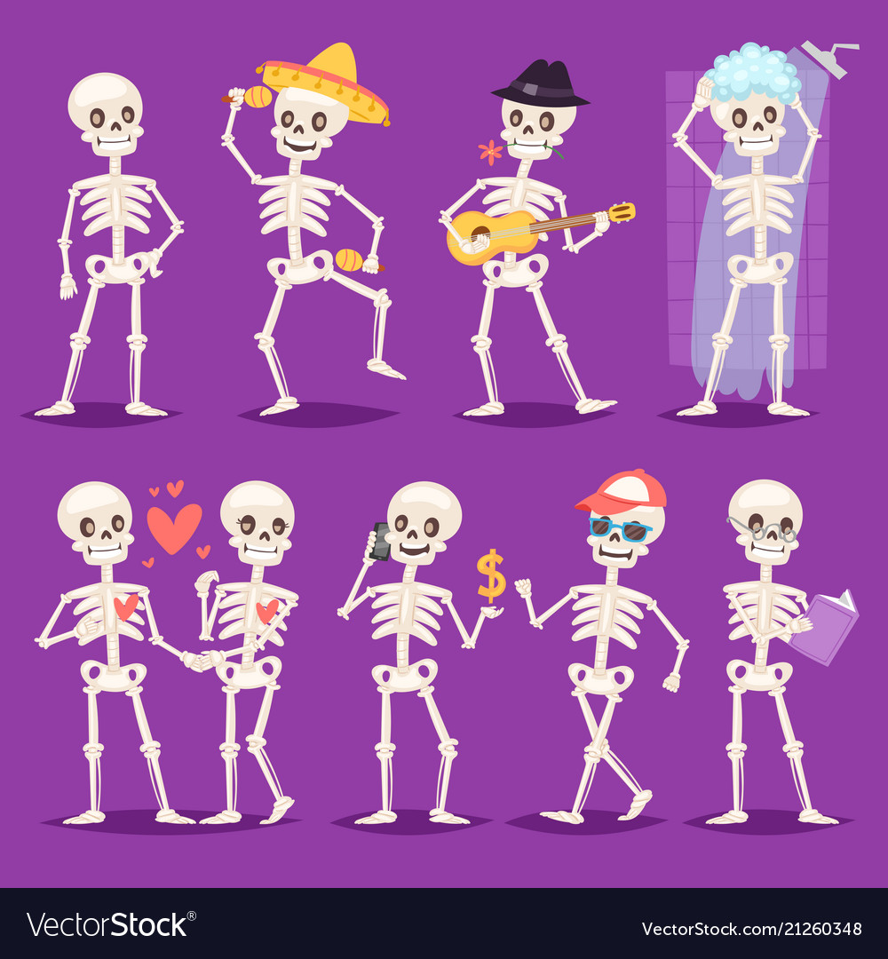 Cartoon skeleton bony character mexican