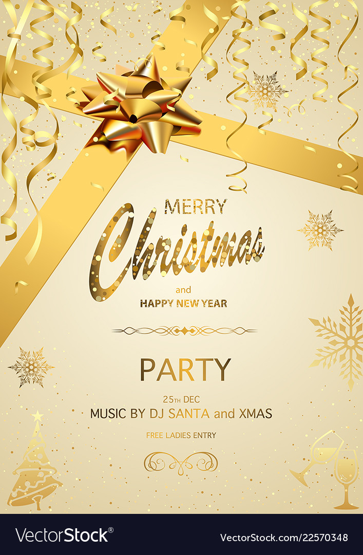 Christmas Invitation Background Gold.Christmas Party Invitation On Gold Background