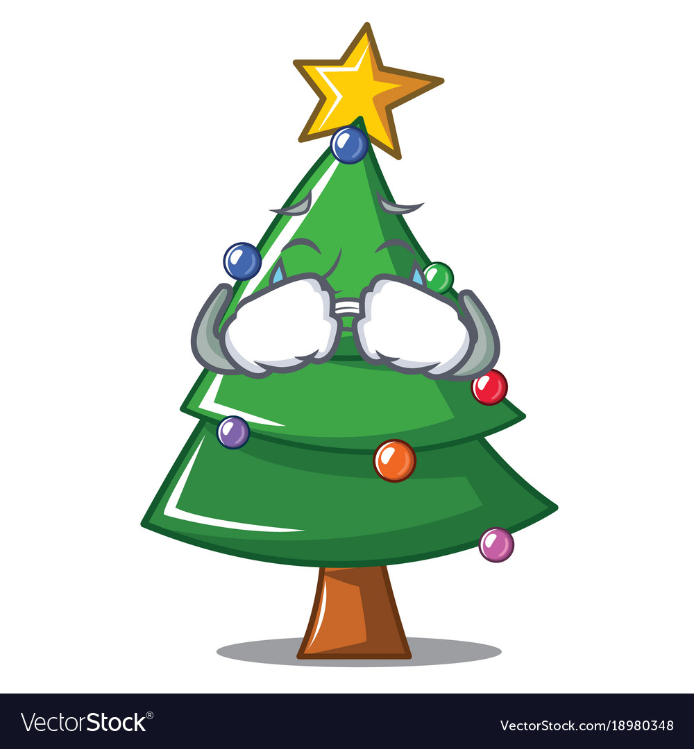 Christmas Tree Emoji.Crying Christmas Tree Character Cartoon Vector Image