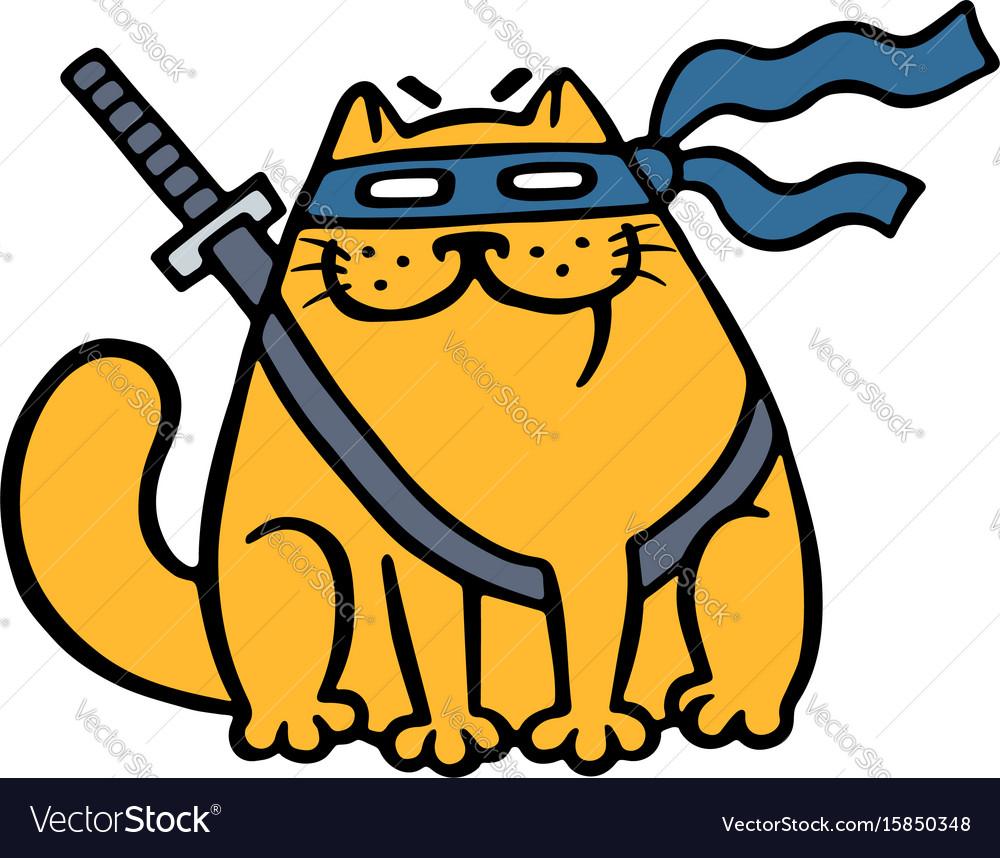 Cute fat ninja cat in a mask and a sword