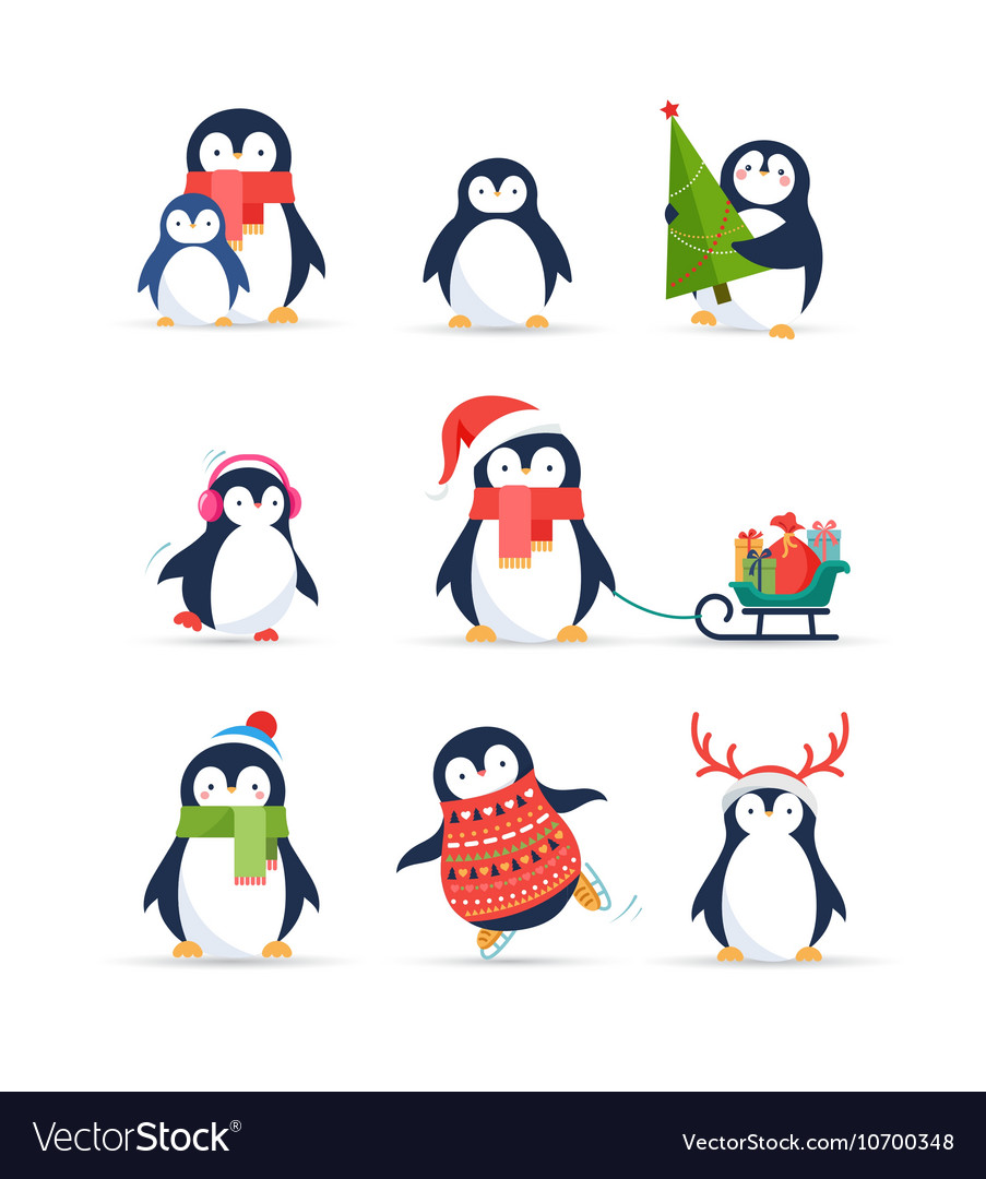 cute penguins set merry christmas greetings vector image