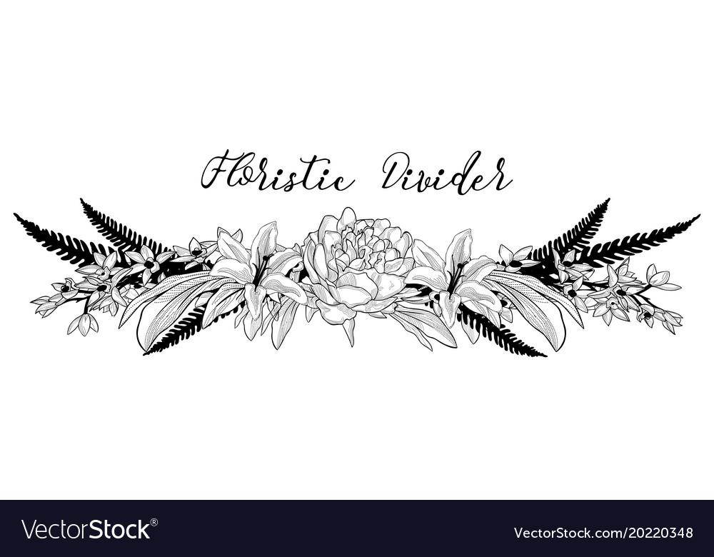 Delicate Floral Text Divider Flower Design Vector Image