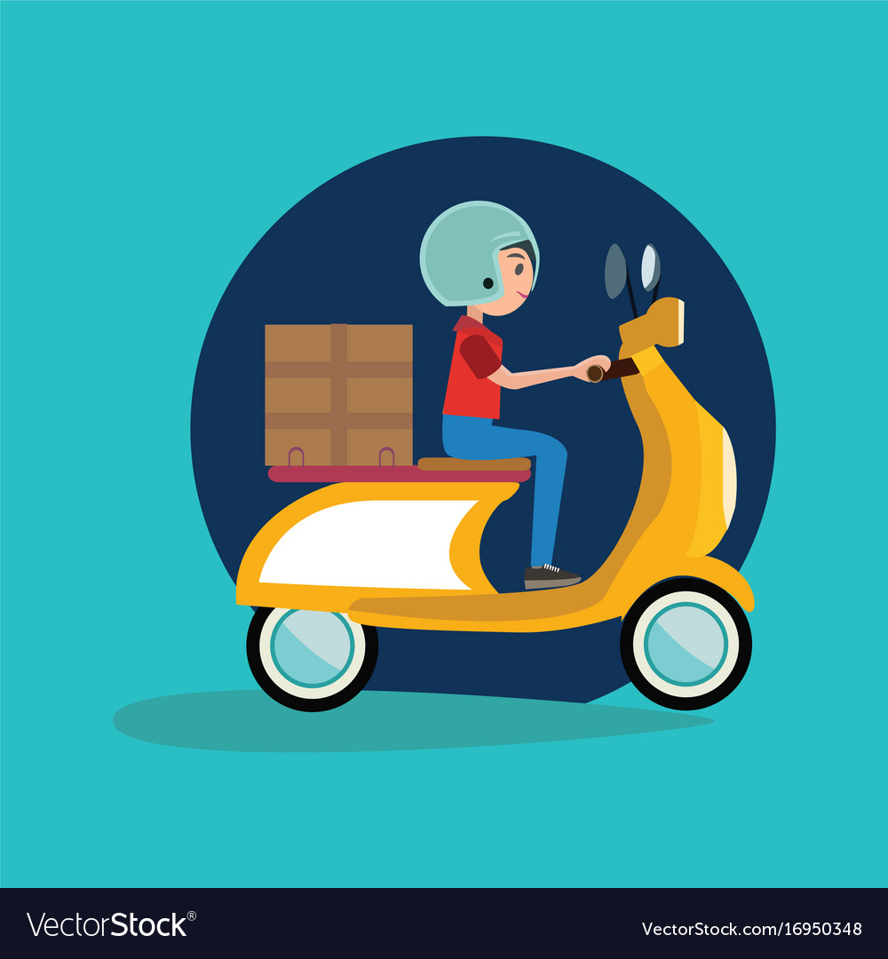 Delivery boy riding motor bike icon