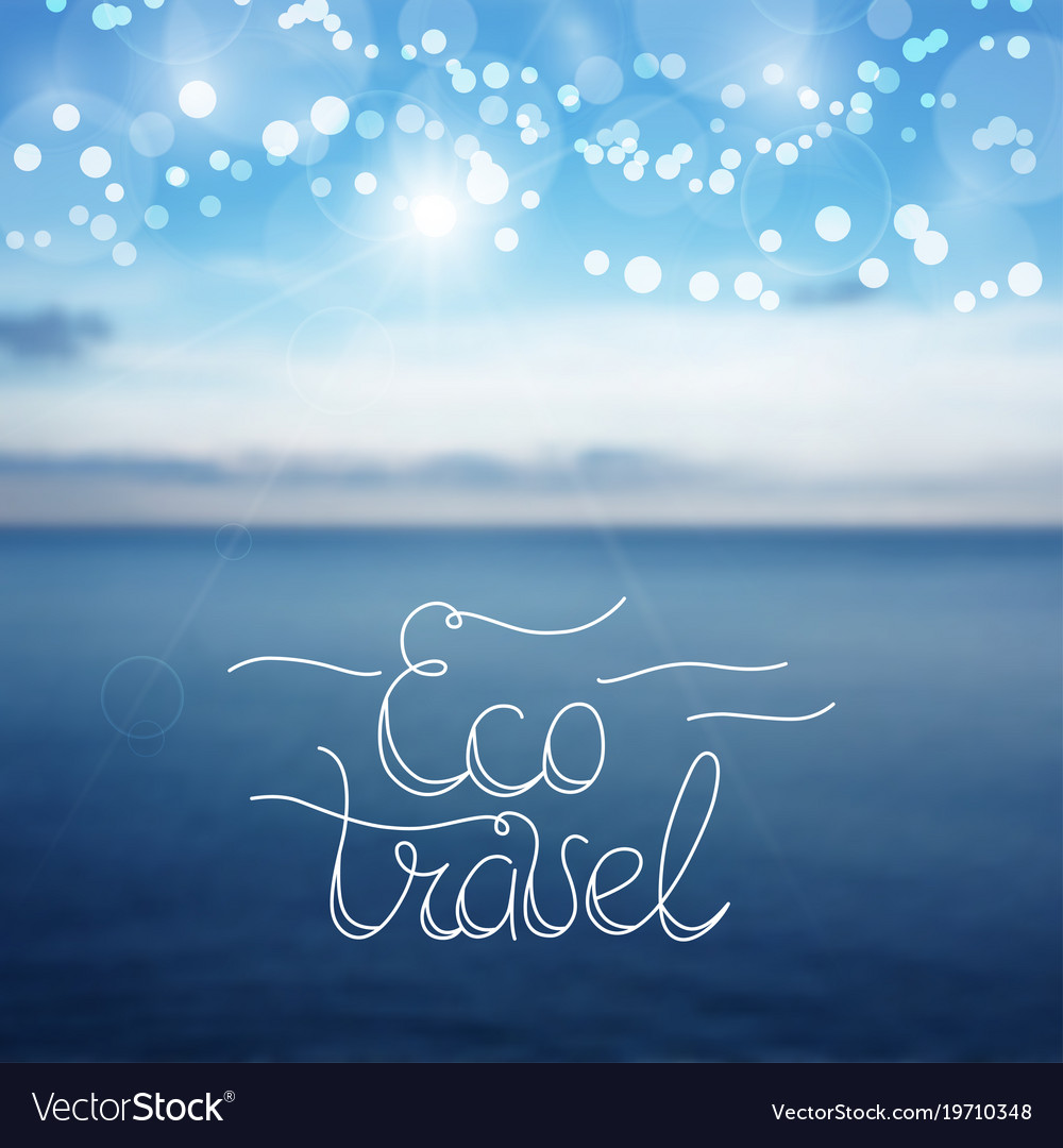 Eco travel lettering card design template for