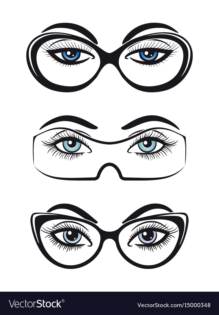 Female eyes with glasses set vector image