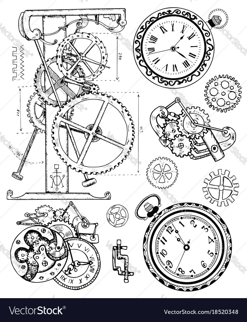 Graphic set with vintage clock mechanism