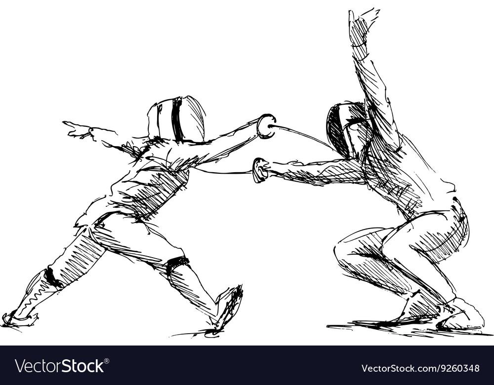 Hand sketch fencers vector image