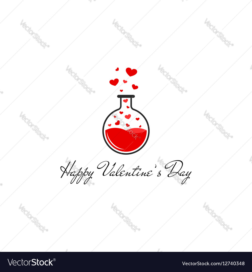 Happy Valentines Day Greeting Card Mockup Flying Vector Image