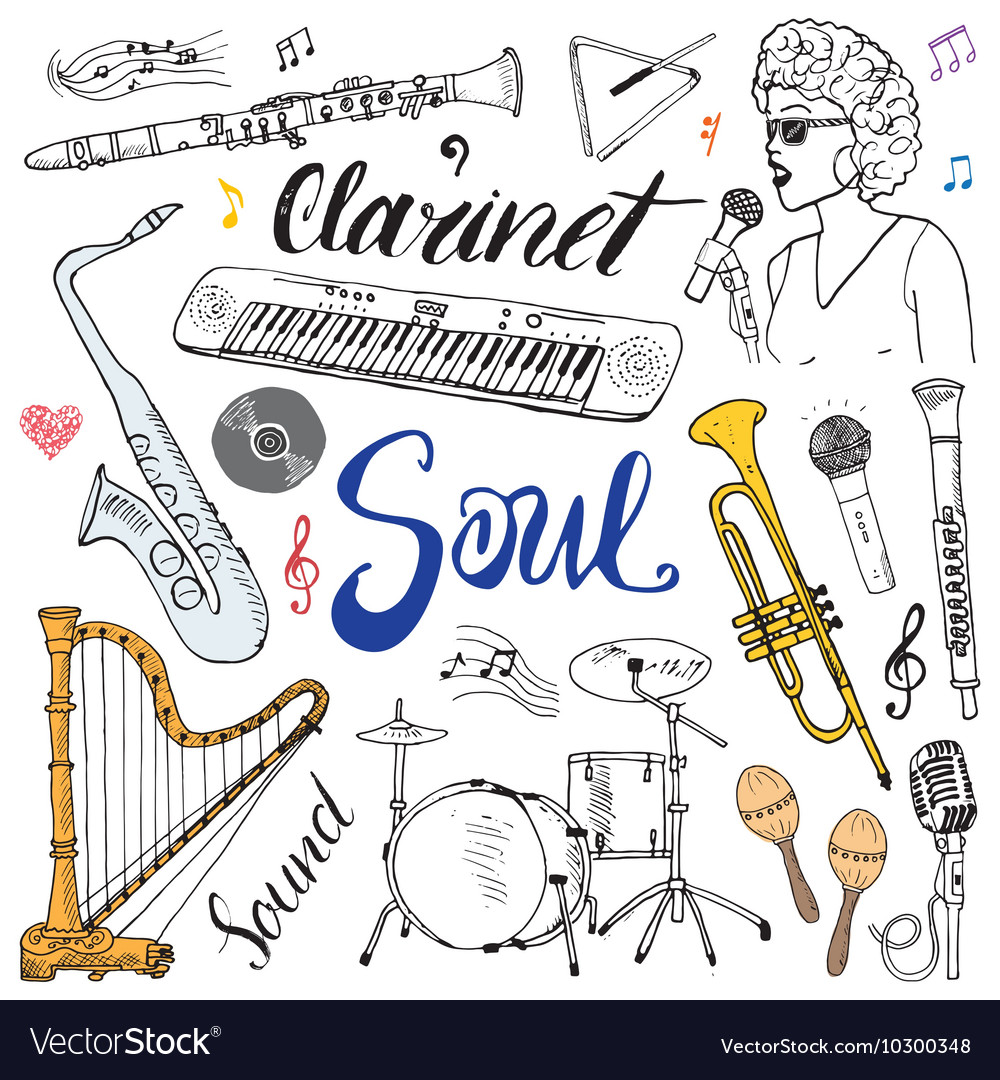 Music Instruments Set Hand Drawn Sketch Isolated