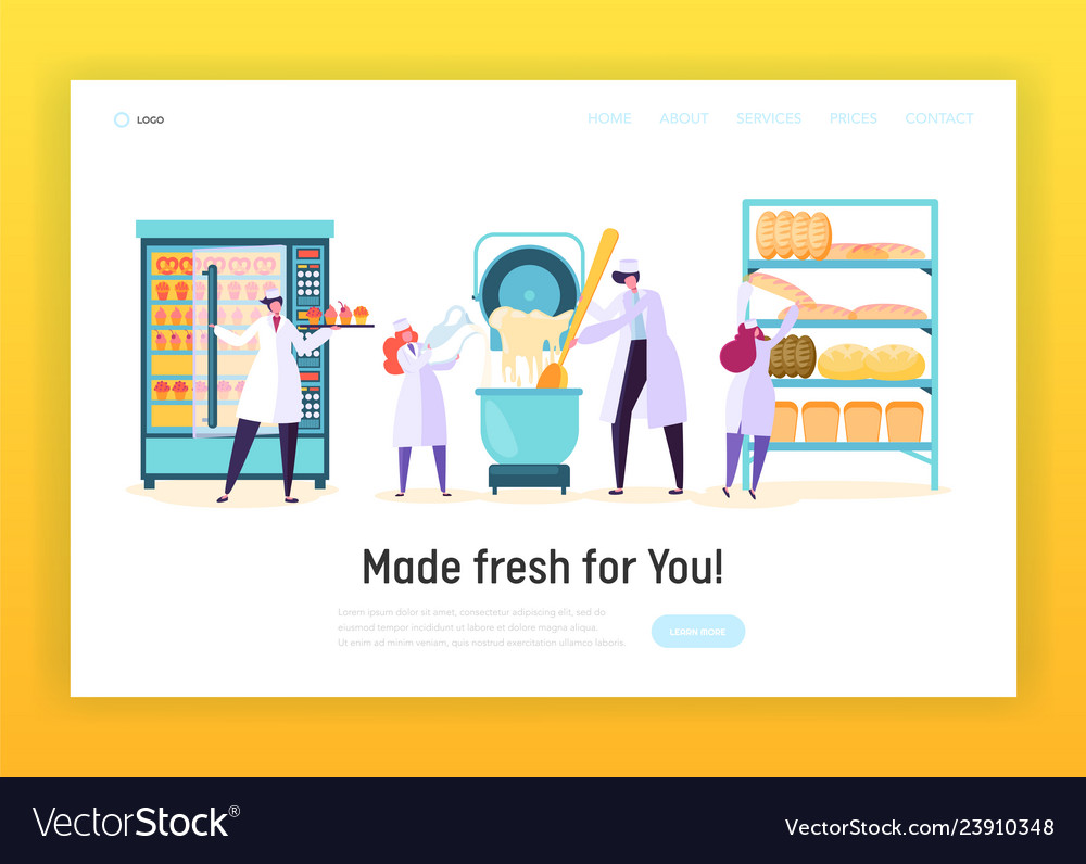 Professional cook in chef uniform landing page