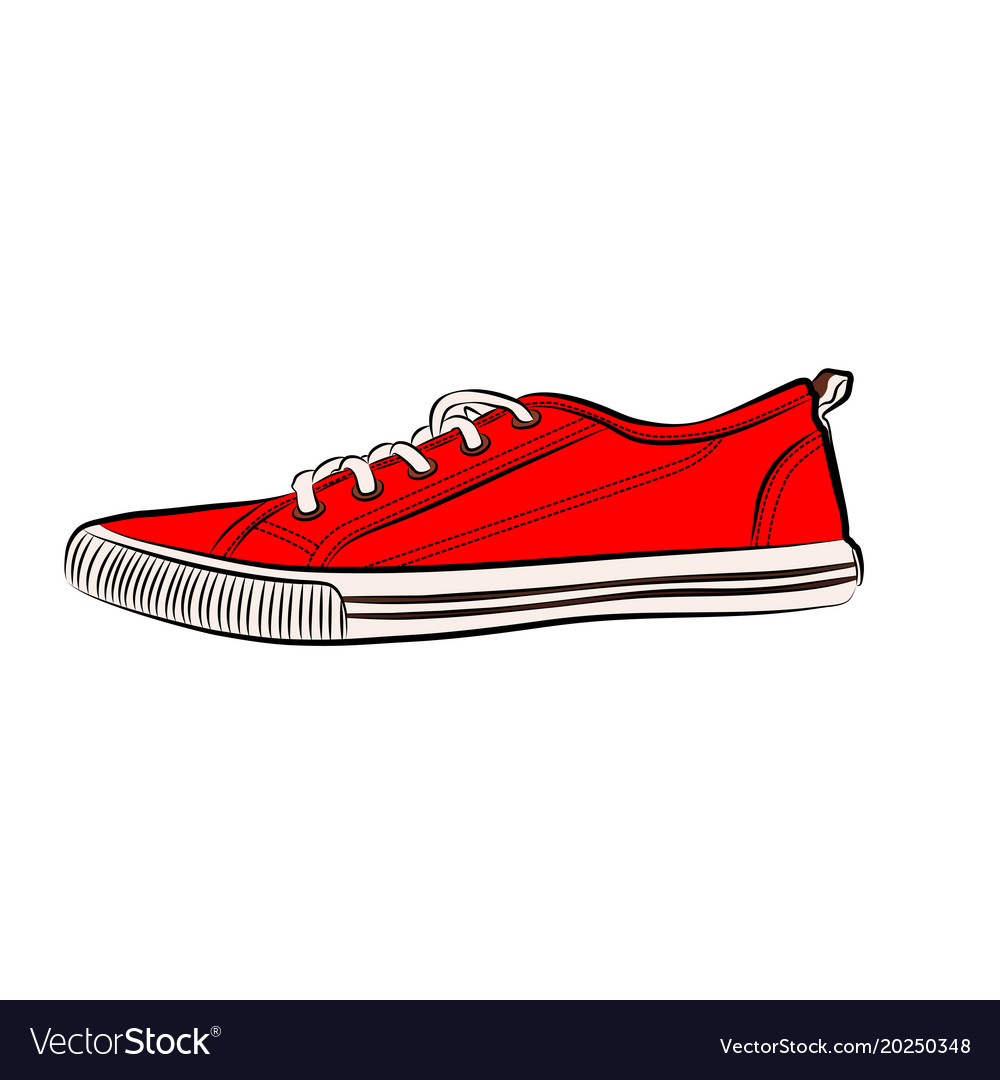 Red sneakers icon flat of sneakers