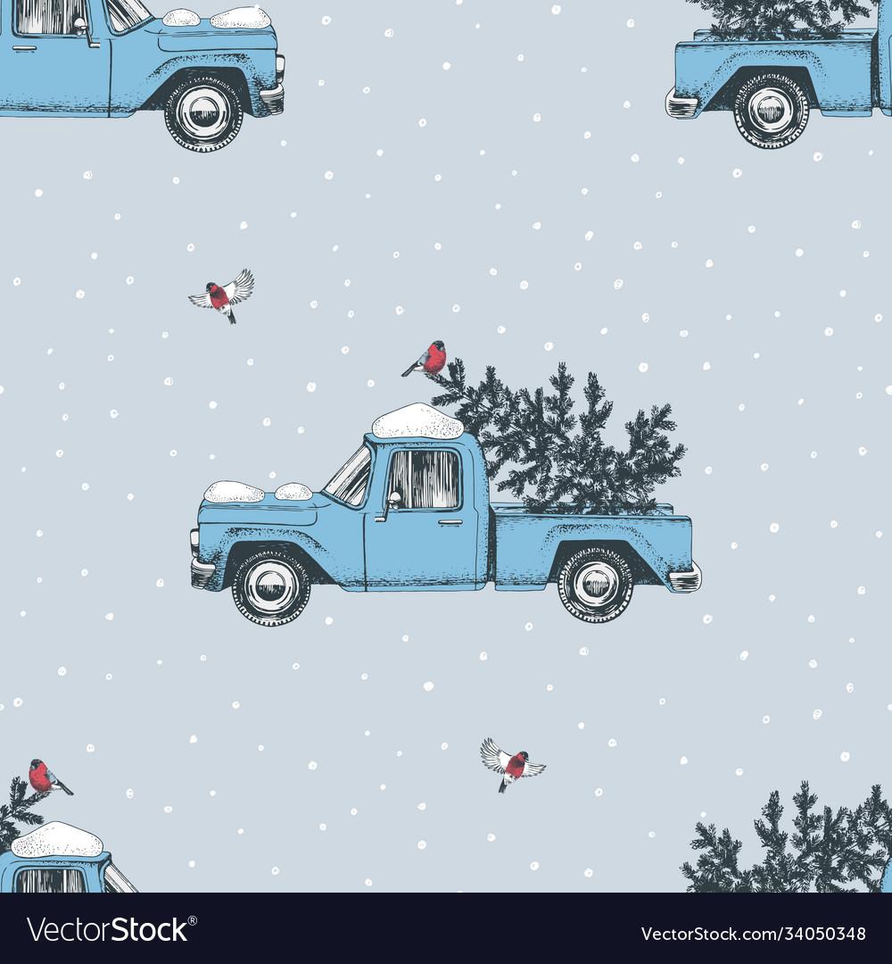 Seamless pattern with hand drawn christmas trucks