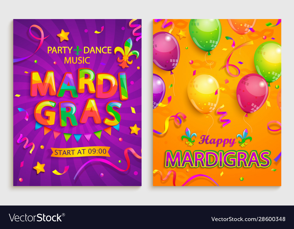 Set flyers for mardigras carnival party