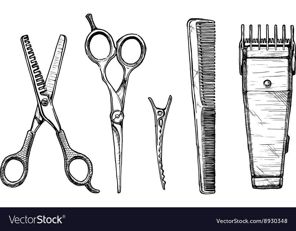 Set of hairdressers tools