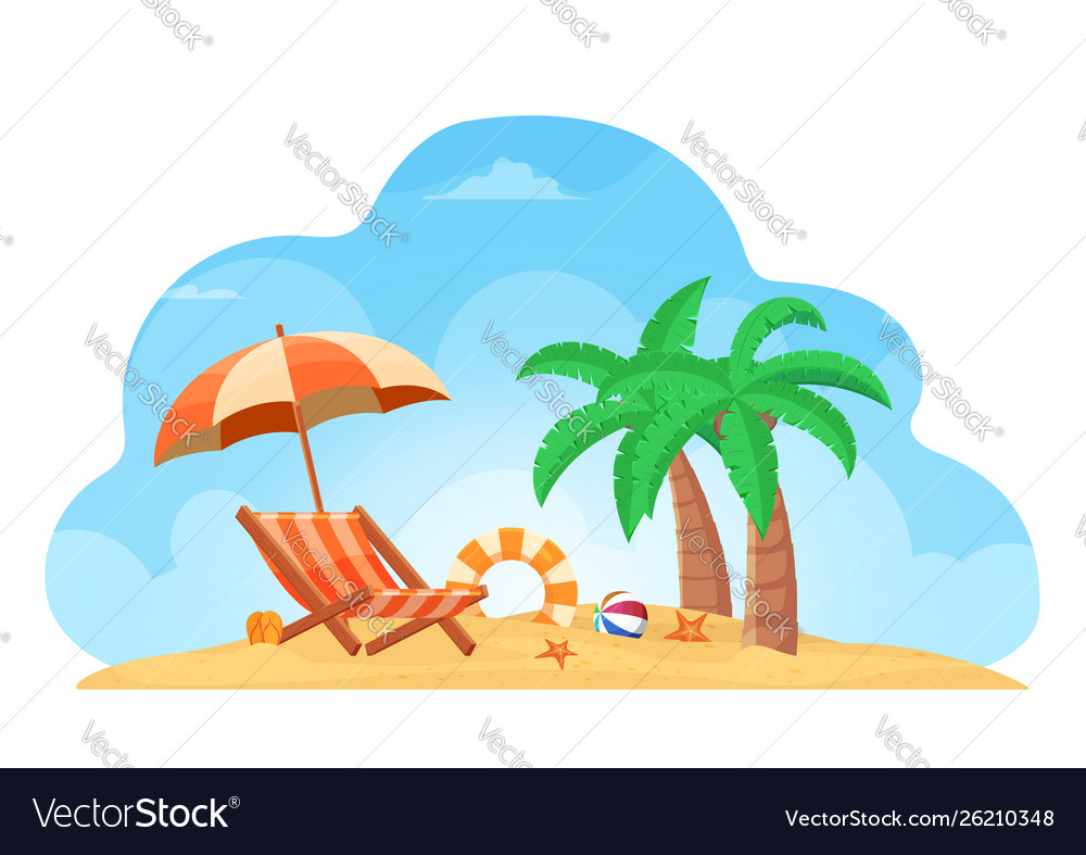 Tropical beach summer background with chair